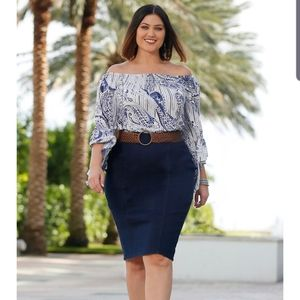 Plus Size Pull On Denim Pencil Skirt